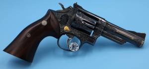 """Smith & Wesson - SOLD Smith & Wesson Full coverage Engraved Model 19-2 4"""" Unfired Blue with a lot of Gold - Image 2"""