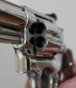 """Smith & Wesson - Smith & Wesson  Model 25-5 45 Long Colt 4"""" Nickel Extremely nice in Display case - Image 2"""