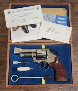 """Smith & Wesson - Smith & Wesson  Model 25-5 45 Long Colt 4"""" Nickel Extremely nice in Display case - Image 3"""